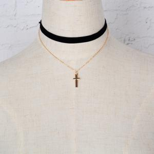 Rock Small Cross Pendant Double Chokers Necklace - BLACK