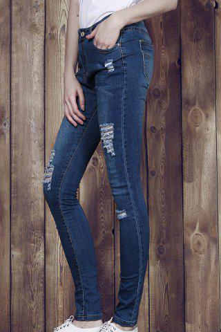 Outfits High Waisted Ripped Skinny Jeans BLUE XL