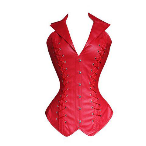 Affordable Stylish V-Neck Halter Solid Color Lace-Up Corset For Women - L RED Mobile