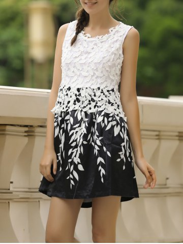 Stylish Round Neck Sleeveless Spliced Printed Women's Dress - White - 2xl
