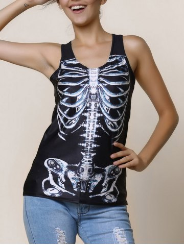 Outfits Scoop Neck Slimming Print Black Tank Top For Women