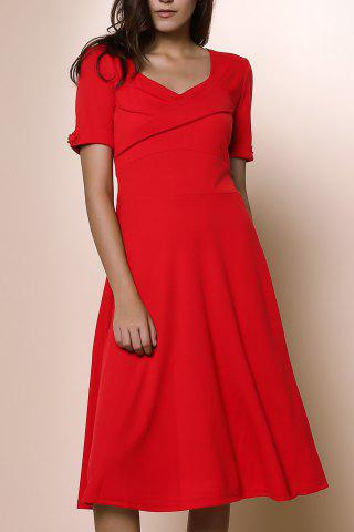 Womens's Vintage Pure Color Sweetheart Neck 1/2 Sleeve Dress - RED S
