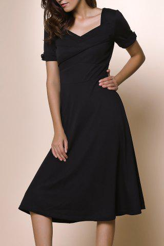 Womens's Vintage Pure Color Sweetheart Neck 1/2 Sleeve Dress - Black - Xl