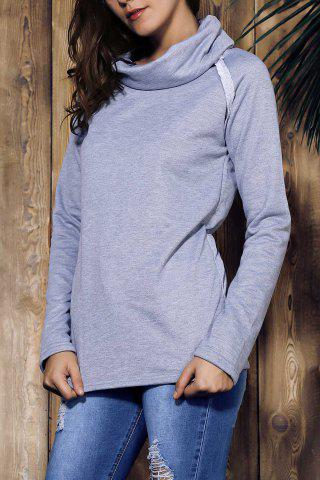 Stylish Turtleneck Long Sleeve Solid Color Women's Sweatshirt - GRAY S