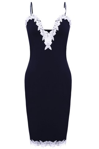Sale Sexy Spaghetti Strap Ruffled Lace Spliced Bodycon Dress For Women