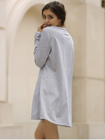 Online Casual V-Neck Long Sleeve Loose-Fitting Solid Color Dress For Women - XL GRAY Mobile