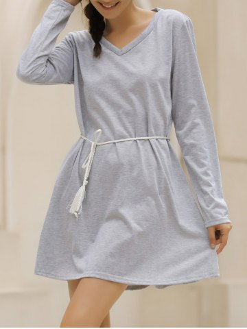 Best Casual V-Neck Long Sleeve Loose-Fitting Solid Color Dress For Women GRAY XL