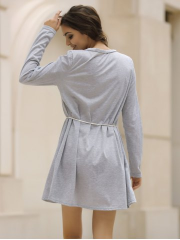 Latest Casual V-Neck Long Sleeve Loose-Fitting Solid Color Dress For Women - XL GRAY Mobile