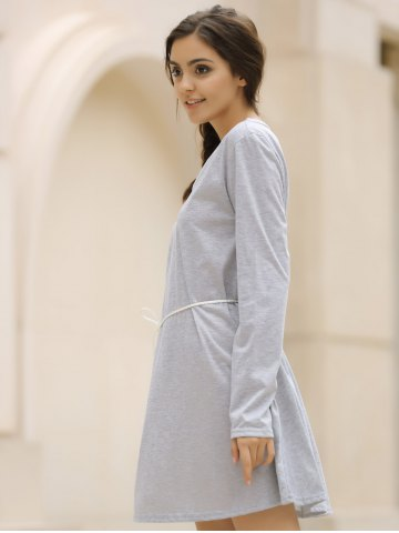 Sale Casual V-Neck Long Sleeve Loose-Fitting Solid Color Dress For Women - XL GRAY Mobile