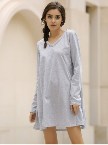 Cheap Casual V-Neck Long Sleeve Loose-Fitting Solid Color Dress For Women - XL GRAY Mobile