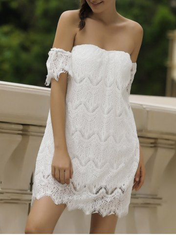 Off Shoulder Lace Short Cocktail Dress - White - Xl