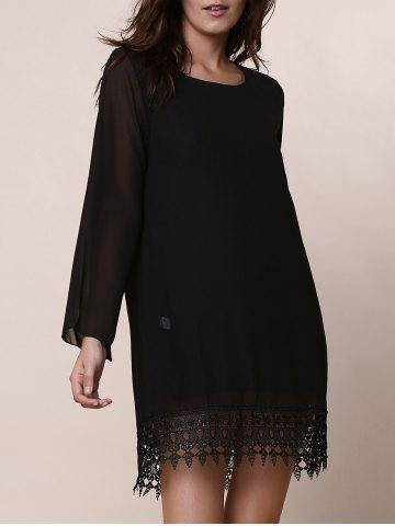 Best Lace Trim Long Sleeve Chiffon Shift Dress BLACK S