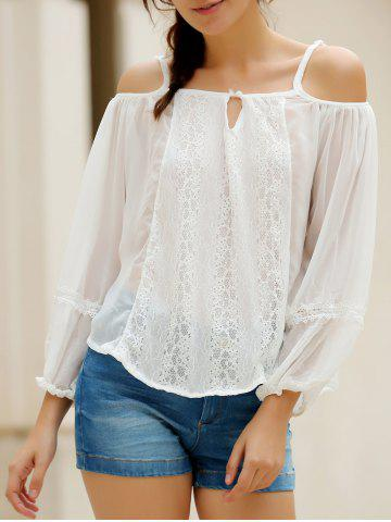 Shop Sexy Spaghetti Strap White Off The Shoulder Long Sleeve Blouse For Women WHITE S
