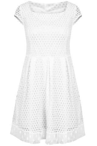 Chic Women's Short Sleeve Square Neck A-Line Dress - White - S