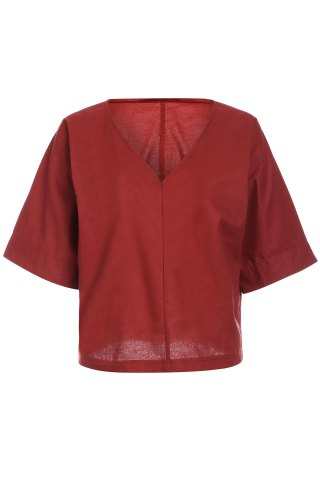Sale Brief Style V-Neck 1/2 Sleeve Loose-Fitting Solid Color Women's Blouse BRICK RED S