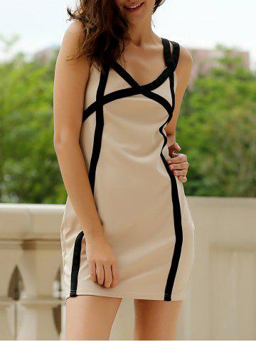 Sweetheart Neck Bandage Bodycon Straps Dress - Colormix - S