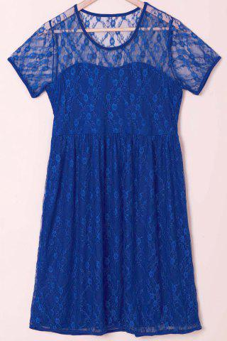 Sexy Scoop Collar Short Sleeve See-Through Solid Color Women's Lace Dress - BLUE S