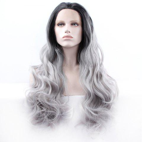 Trendy Fluffy Long Synthetic Women's Wavy Lace Front Wig BLACK AND GREY
