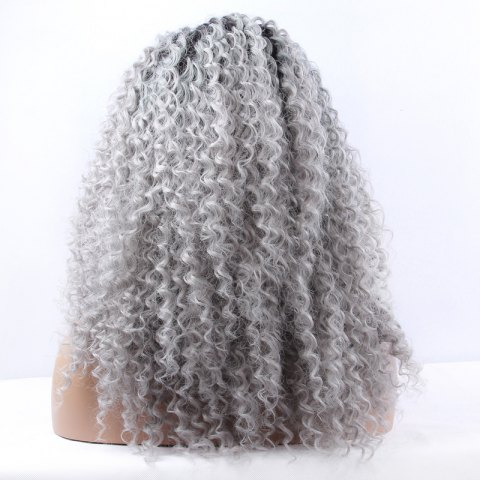 Fashion Fluffy Long Synthetic Women's Curly Lace Front Wig - BLACK AND GREY  Mobile