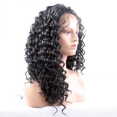 Buy Long Synthetic Women's Curly Lace Front Wig - BLACK  Mobile