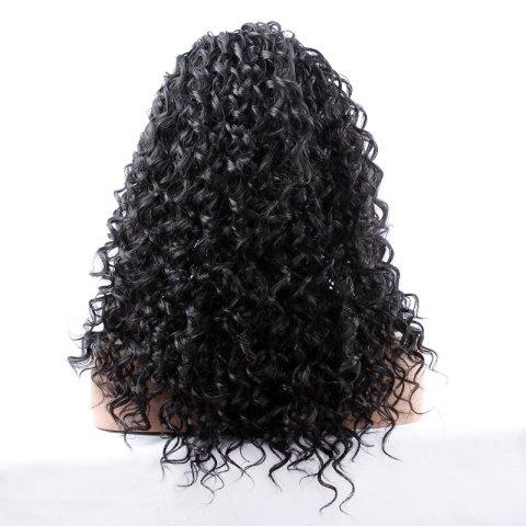 Sale Long Synthetic Women's Curly Lace Front Wig - BLACK  Mobile