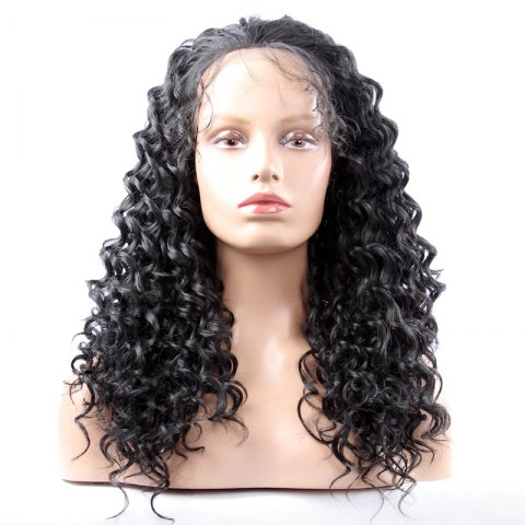 Store Long Synthetic Women's Curly Lace Front Wig - BLACK  Mobile