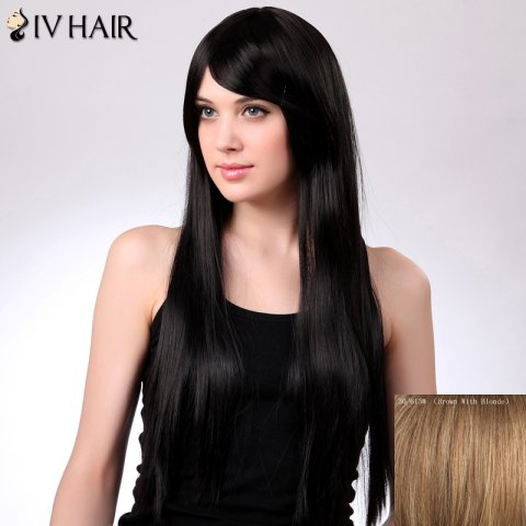 Trendy Charming Siv Hair Long Straight Oblique Bang Women's Human Hair Wig