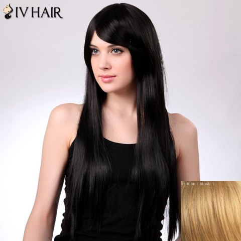 Buy Charming Siv Hair Long Straight Oblique Bang Women's Human Hair Wig BLONDE