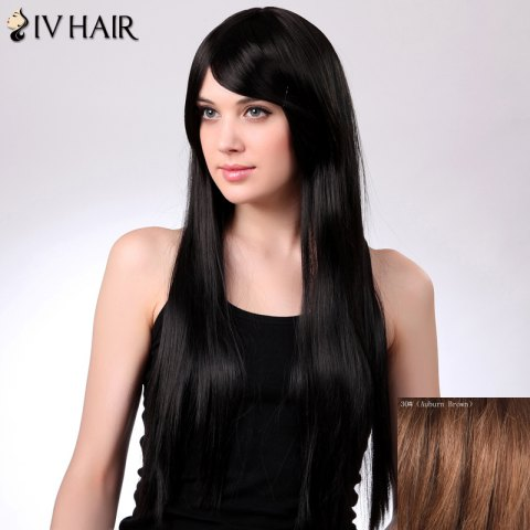 Best Charming Siv Hair Long Straight Oblique Bang Women's Human Hair Wig - AUBURN BROWN #30  Mobile
