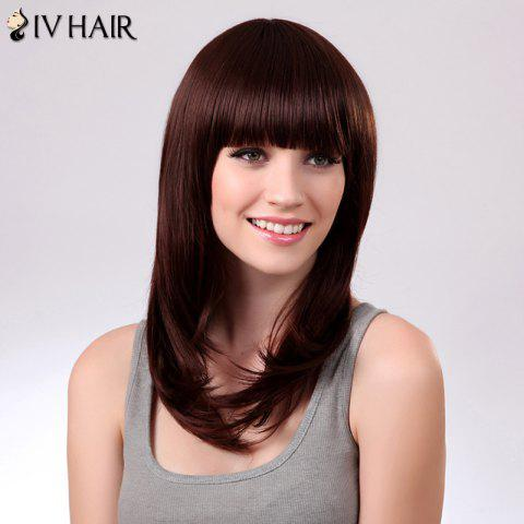 Chic Charming Siv Hair Natural Straight Full Bang Women's Human Hair Wig