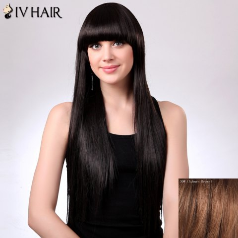Trendy Charming Siv Hair Straight Full Bang Women's Human Hair Wig - AUBURN BROWN #30  Mobile