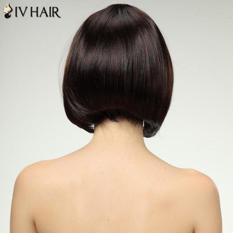 Unique Charming Siv Hair Full Bang Straight Bobo Style Women's Human Hair Wig - BROWN WITH BLONDE  Mobile