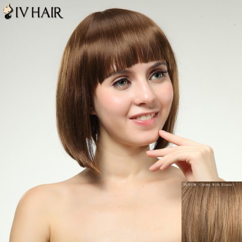 Best Charming Siv Hair Full Bang Straight Women's Human Hair Wig