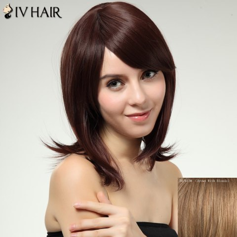 Outfit Siv Hair Inclined Bang Long Women's Human Hair Wig