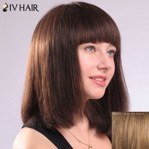 Online Ladylike Full Bang Natural Straight Siv Hair Women's Human Hair Wig