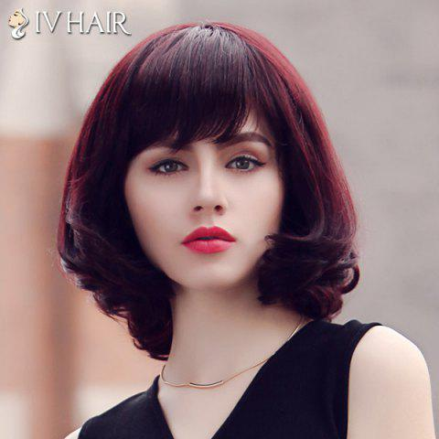 Unique Fluffy Siv Hair Neat Bang Medium Human Hair Wig For Women - RED MIXED BLACK  Mobile