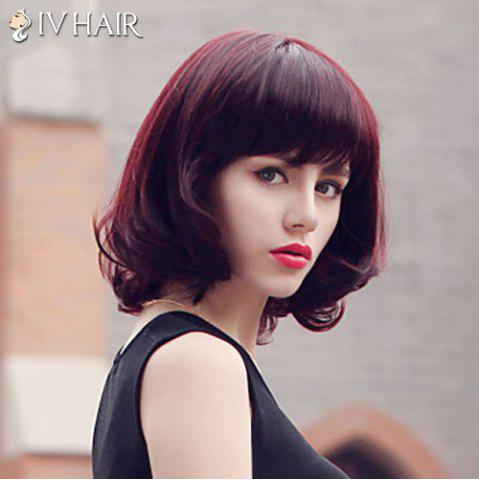 Fashion Fluffy Siv Hair Neat Bang Medium Human Hair Wig For Women - RED MIXED BLACK  Mobile