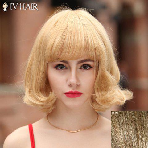 Fashion Fluffy Siv Hair Neat Bang Bobo Style Human Hair Wig For Women