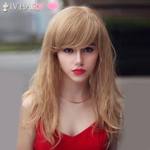 Fancy Fluffy Siv Hair Long Curly Oblique Bang Human Hair Wig For Women - BLONDE  Mobile