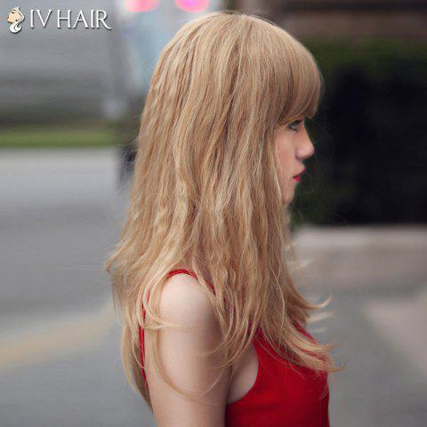 Shop Fluffy Siv Hair Long Curly Oblique Bang Human Hair Wig For Women - BLONDE  Mobile