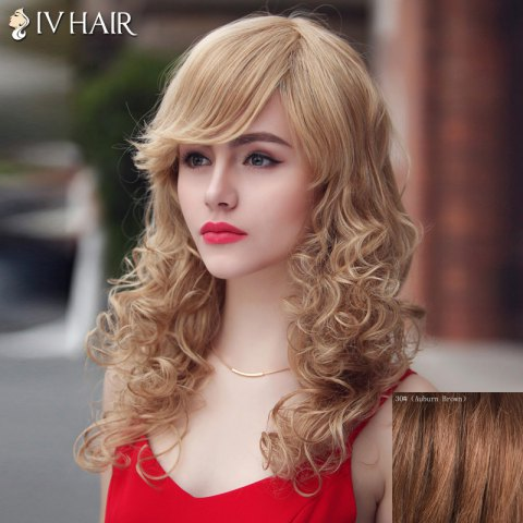 Fashion Siv Hair Long Curly Oblique Bang Human Hair Wig For Women - AUBURN BROWN