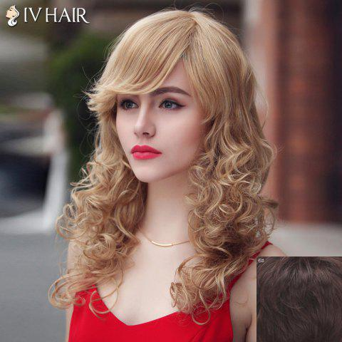 Affordable Fashion Siv Hair Long Curly Oblique Bang Human Hair Wig For Women - MEDIUM BROWN  Mobile