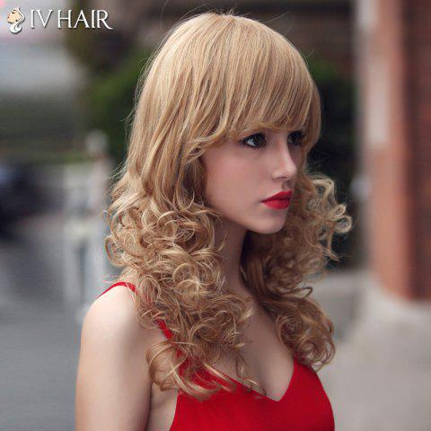 Sale Fashion Siv Hair Long Curly Oblique Bang Human Hair Wig For Women - BROWN WITH BLONDE  Mobile