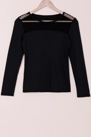Online Stylish Round Collar Voile Splicing Slimming Long Sleeve Women's T-Shirt - M BLACK Mobile