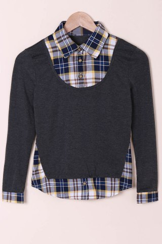 Trendy Casual Shirt Collar Long Sleeve Spliced Plaid Faux Twinset Women's Shirt