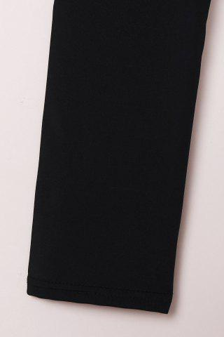 Fashion Active High-Waisted Solid Color Skinny Women's Pants - S BLACK Mobile