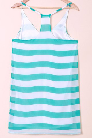 Online Casual Scoop Collar Sleeveless Color Block Striped Women's Sundress - XL BLUE AND WHITE Mobile