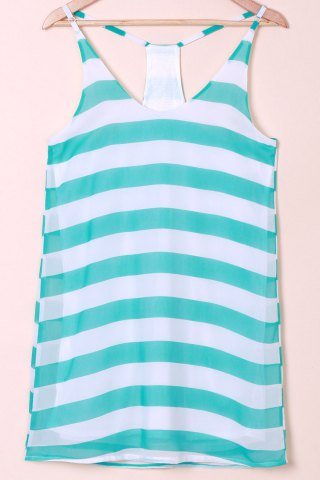 Unique Casual Scoop Collar Sleeveless Color Block Striped Women's Sundress BLUE AND WHITE XL
