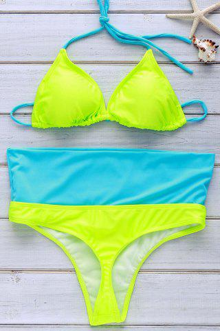 New Refreshing Halter Color Block Bikini Set For Women