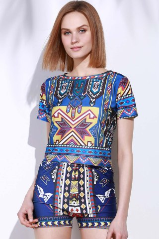 Best Vintage Geometric Printed Short T-Shirt+High Waist Shorts Twinset For Women - S COLORMIX Mobile